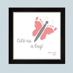 """""""Cute as a bug!"""" Butterfly Footprint artwork available at Handpressions. Great for nursery or playroon decor. Available in 3 different colors. Create a cute butterfly with your own child's footprints."""