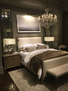 Love everything except the chandelier and the lighted painting above the bed Apartment Bedroom Decor, Condo Bedroom, Home Decor Bedding, Master Bedroom Makeover, Closet Bedroom, Bedroom Wall, Girls Bedroom, California Home Decor, Masculine Bedrooms