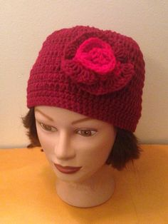 House of Saintcyr Red crochet beanie with flower accent