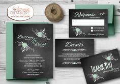 Chalkboard and Mint Wedding Invitation Set, vintage floral wedding, Printable…