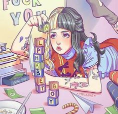 Find images and videos about draw, fanart and melanie martinez on We Heart It - the app to get lost in what you love. Melanie Martinez Style, Melanie Martinez Anime, Melanie Martinez Drawings, Crybaby Melanie Martinez, Cry Baby, Alphabet, Fan Art, Music Artists, Art Drawings