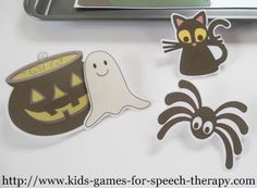 Halloween Speech Therapy Activities for prepositions and pronouns.