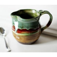 ceramic pitchers pottery | Striped Ceramic Pitcher