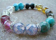 Boho Bracelet, Bohemian Bracelet, Boho, Beaded Bracelet, Gypsy Bracelet, Hippie Bracelet, Boho Jewelry, Chunky Bracelet, Beaded Stretch by BeJeweledByCandi on Etsy