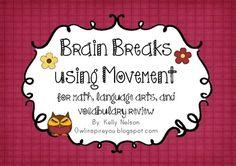 {freebie} great brain break ideas for you kiddos!