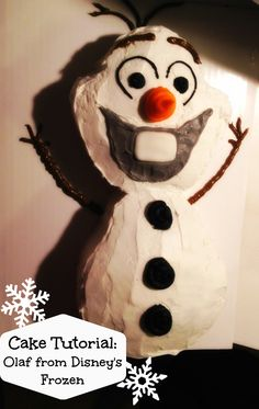 """Olaf cake for our Disney Frozen themed birthday party. Find the step by step """"How-To"""" here:http://lifeloveandthepursuitofplay.com/2013/12/18/cake-tutorial-olaf-from-disneys-frozen/"""
