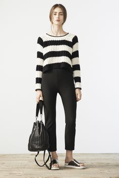 A modern Edie Sedgwick means sleek black trousers and a cropped, striped sweater. For more Elizabeth and James-inspired fashion tips head over to nylonmag.com!