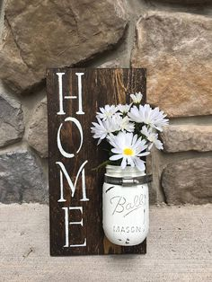 Items similar to SALE** Handmade Mason Jar Home Sign – Hanging Mason Jar Wall Decor – Farmhouse Decor – Rustic Decor on Etsy – Gift Ideas Mason Jar Projects, Mason Jar Crafts, Mason Jar Diy, Fall Mason Jars, Funky Home Decor, Handmade Home Decor, Etsy Handmade, Rustic Farmhouse Decor, Rustic Decor