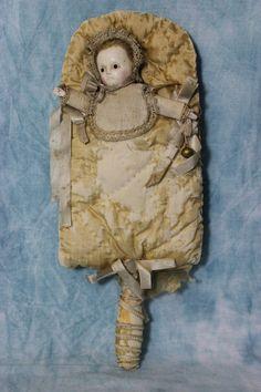 """13 """"Античная Воск За Стеклянные Глаза куклы в кровати Rattle РЕДКИХ Presentation С 1880   eBay"""
