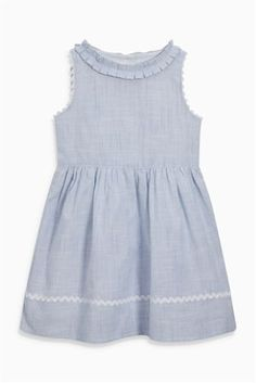 Blue/White Chambray Stripe Ruffle Collar Dress (3mths-6yrs)