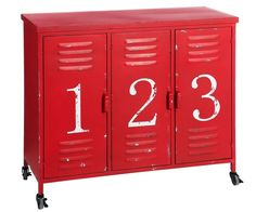 Mueble Auxiliar en Hierro Rojo 3 Puertas 40 x 104 x 84 cm