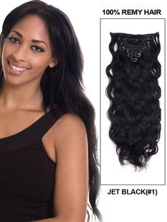 16 Inch 8pcs Body Wave Indian Clip In Remy Hair Extensions (#1 Jet Black) 100g