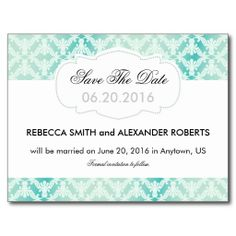 Mint green & teal damask Save The Date postcard