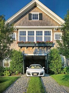 Cape Cod carriage house and split driveway. I will take the house and the car too!  (Val)  ~ Great pin! For Oahu architectural design visit http://ownerbuiltdesign.com