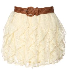 crochet skirt with braided belt. rue 21. $21.99 > Cute with a button down shirt and some Converses. Haha