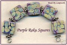 Purple And Raku Square Lampwork Handmde Glass Beads