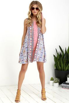 Whisk Me Away Coral Pink Print Swing Dress at Lulus.com!