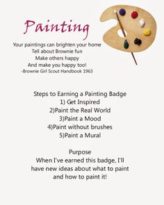 Brownie Painting Badge Requirements Girl Scout Swap, Girl Scout Troop, Boy Scouts, Girl Scout Brownie Badges, Brownie Girl Scouts, Brownies Activities, Girl Scout Activities, Family Activities, Daisy Petals