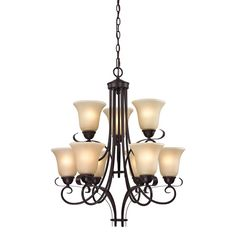 View the Cornerstone Lighting 1009CH/10 Oil Rubbed Bronze Brighton 9 Light 2 Tier Chandelier with Frosted Glass Shades at Build.com.
