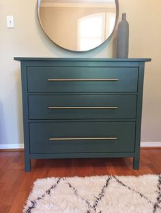 IKEA Hack - Forest Green Hemnes Dresser with Brass Pulls - Plum Street Prints