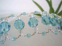 Krystallarmbånd - lys turkis og sølv