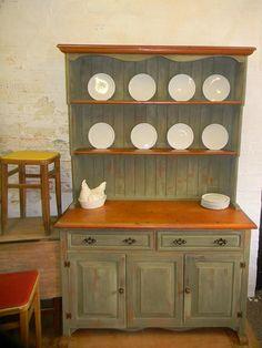 Gorgeous pine Welsh dresser in Annie Sloan olive by CharliesChest, £385.00