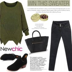 Newchic Loose Plus Size Casual Pocket Solid Long Sleeve Split Knit Pullover/Sweater on Polyvore