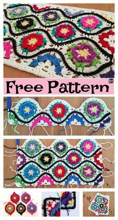 Crochet Moroccan Garden Afghan – Free Pattern #freecrochetpattern #flower #afghan #blanket