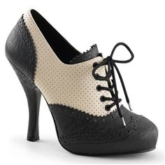 Cream Black Lace-Up Pin Up Shoes Vintage Inspired High Heels 1950s Style