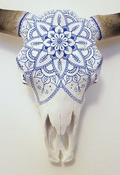 Beautiful Hand Painted Faux Cow Skull with Blue Mandala - 2 sizes available - Bison skull - Beautiful Hand Painted Faux Cow Skull with Blue Mandala 2 - Deer Skull Art, Cow Skull Decor, Antler Crafts, Antler Art, Skull Crafts, Mandala Azul, Painted Animal Skulls, Buffalo Skull, Cow Head