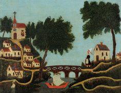 Landscape with Bridge by Henri Rousseau #art