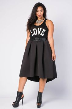 Edgy A Line High Low Skirt