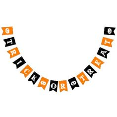 Black and Orange Trick or Treat Halloween Party Bunting Flags - vintage gifts retro ideas cyo