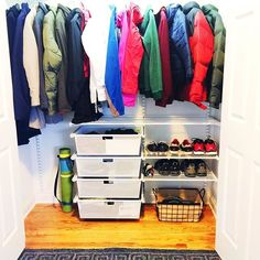 This San Diego family is gearing up for #chicago winters and the first step was to #organize the coat closet for #backtoschool @thecontainerstore #organization #newhome #closet #elfa #oktcs