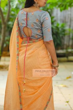 PV 4245 : Grey and Peach.Peach checkered jute textured sari finished with a tinge of grey and pink bordersUnstitched blouse piece :Bluish Grey threadwork designer blouse piece as displayed in the pictureFor Order 29 August 2019 Indian Blouse Designs, Choli Designs, Simple Blouse Designs, Saree Blouse Neck Designs, Stylish Blouse Design, Bridal Blouse Designs, Star Wars Party, Designer Blouse Patterns, Blouses