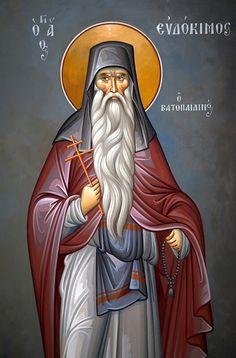 Evdokimos of Vatopaidi Byzantine Icons, Byzantine Art, Religious Icons, Religious Art, Chi Rho, Orthodox Christianity, Orthodox Icons, Saints, Religion