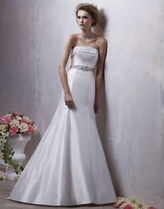 Enticing Simple Strapless with Embroider Sash Satin Sweep Train Wedding dress in Mermaid Style
