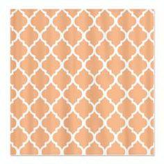 Peach Quatrefoil pattern Shower Curtain