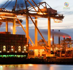 the motion and activity of a container terminal at dusk with all facets of the harbor: the ships the containers the cranes the carriers the processing industry. Container Terminal, Dusk, Transportation, Photo Editing, Royalty Free Stock Photos, Fair Grounds, Activities, Pictures, Travel
