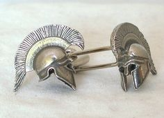 Warrior Helmet Cufflinks in Fine English Pewter, Gift Boxed Men's Accessories: Greek Warrior Helmet Cufflinks - GrahamMen's Accessories: Greek Warrior Helmet Cufflinks - Graham Der Gentleman, Gentleman Style, Men's Accessories, Warrior Helmet, Spartan Warrior, Greek Warrior, Sharp Dressed Man, Mode Style, Graham