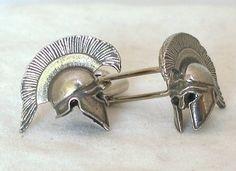 Men's Accessories: Greek Warrior Helmet Cufflinks - Graham
