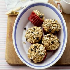 A hearty oat mixture is baked into these treats; they derive most of their moisture and sweetness from bananas and applesauce.