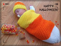 Candy Corn Photo Prop, Infant Halloween Costume, Newborn Cocoon, Baby Sleep Sack, Crochet Baby Bunting and Hat, Unisex Baby Shower Gift - pinned by pin4etsy.com