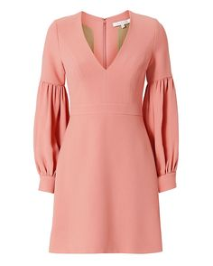 Alexis Ellena Blouson Sleeve Dress: The A-line mini dress silhouette features a deep V-neckline with gathered blouson sleeves. Back zip closure. Lined. In pink. Fabric: 52% viscose/48% acetate Lining: 100% polyester Made in China.  Model Measurements: Height 5'8.5 ; Waist 24 ; Bust 33 ...