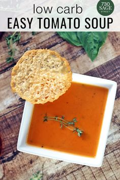 This Low Carb Tomato Soup and the Parmesan crisps are delicious. Fresh and savory. Super easy to make and quick to have it on the table #easyrecipes #tomatosoup #healthysnacks #appetizer Low Carb Appetizers, Yummy Appetizers, Appetizer Recipes, Low Carb Chicken Recipes, Low Carb Dinner Recipes, Low Carb Pizza, Low Carb Lunch, Healthy Snacks, Healthy Recipes