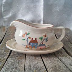 Vintage Gravy Boat and Saucer Heartland Village International China Made in Thailand Shabby Chic Style Country Cottage Replacement Piece by LostTreasurebyLynn on Etsy