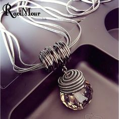 RAVIMOUR Long Necklace Black Chain Drop Crystal Women Necklace Jewelry 8Style Maxi Necklaces & Pendants Kolye 2017 NEW YEAR GIFT