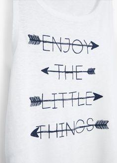 Bedrucktes leinen-t-shirt | MANGO