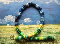 Polymer clay beads mixed in the colors of the Van Gogh painting