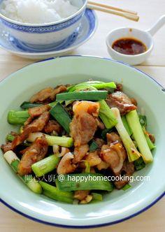 開心入廚 Happy Home Cooking: 大蒜炒豬肉 ~ 惹味客家小炒